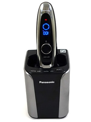 Panasonic Arc5 5-blade Electric Shaver ccharging in cleaning unit
