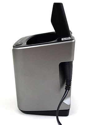 Panasonic Arc5 5-blade Electric Shaver cleaning unit cord plugged in side