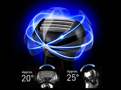 Panasonic Arc5 5-blade Electric Shaver diagram of directions and angles that the shaving head can pivot