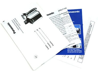 Panasonic Arc5 5-blad electric shaver instruction manual and other paperwork