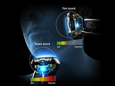 Panasonic Arc5 5-blade Electric Shaver shaving sensor diagram