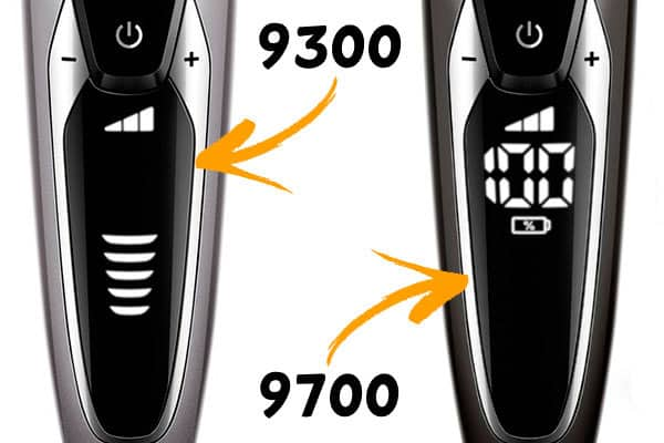 Philips Norelco 9700 and 9300 electric shaver side by side comparison of battery capacity display