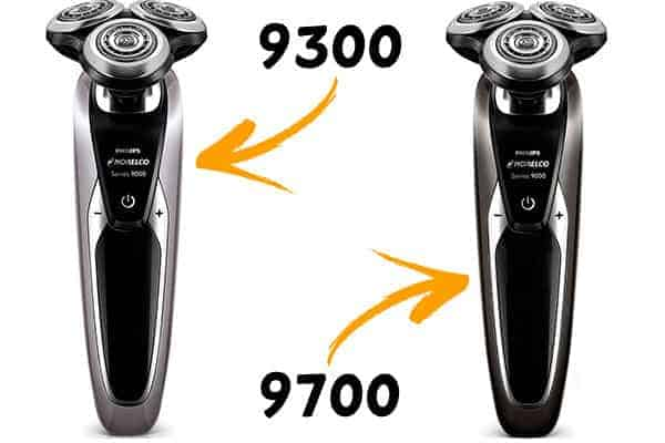 Philips Norelco 9700 and 9300 electric shaver side by side comparison