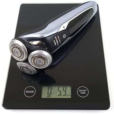 Philips Norelco S9311/84 9300 electric shaver (9000 series) weighed on scales
