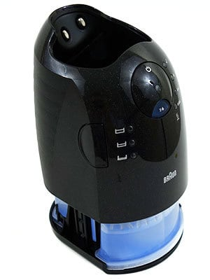 Braun Series 7 790cc-4 electric shaver charging station with cleaning cassette inside