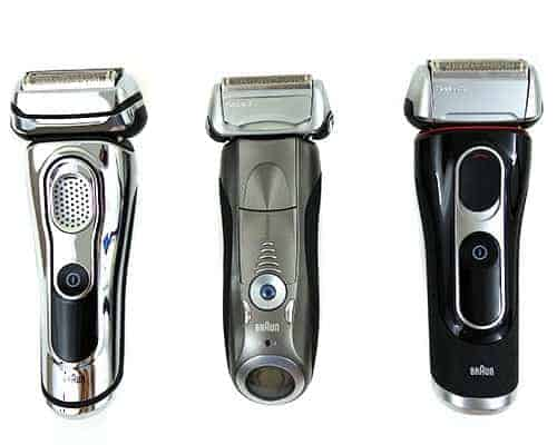 Braun series 7 sitting in the middle of series 5 and series 9 electric shaver comparison