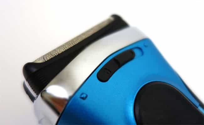 Braun Series 3 Electric Shaver close up on precision mode toggle switch