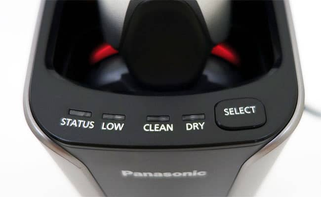 Panasonic Arc 3 electric shaver cleaning station indicator lights and controls