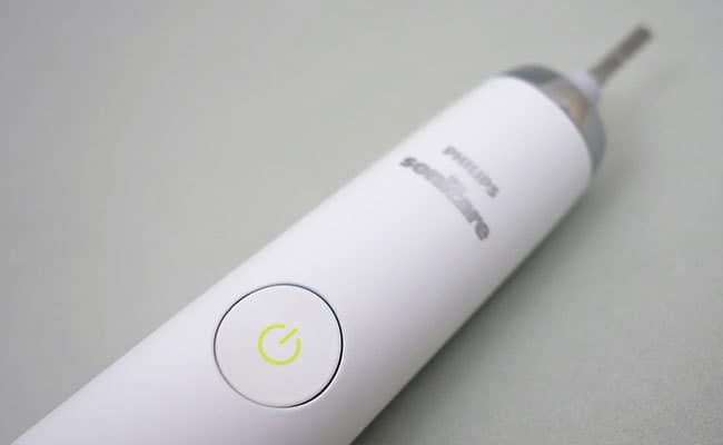 Philips Sonicare DiamondClean Electric Toothbrush close up on power button