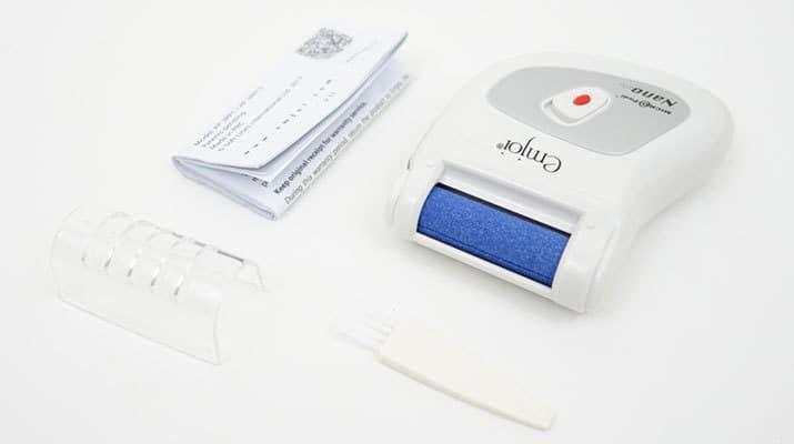 Emjoi Micro Pedi Nano Callus Remover and accessories that come in the box