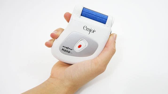 Emjoi Micro Pedi Nano callus remover different holding position