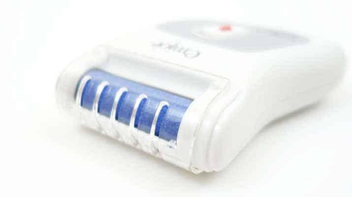 Emjoi Micro-Pedi Nano callus remover with plastic cover installed