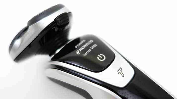 Philips Norelco 5000 Series 5700 and 5500 electric shaver power and turbo mode buttons