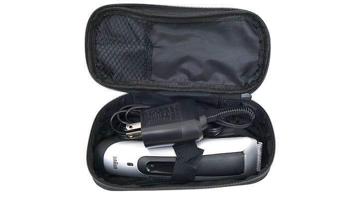 Braun BT5090 Beard Trimmer stored in travel case with charger