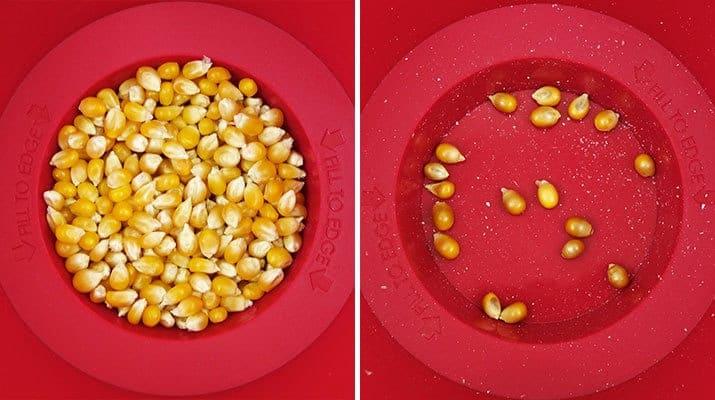 Chef'n PopTop Microwave popcorn maker unpopped kernels vs popped kernels comparisom