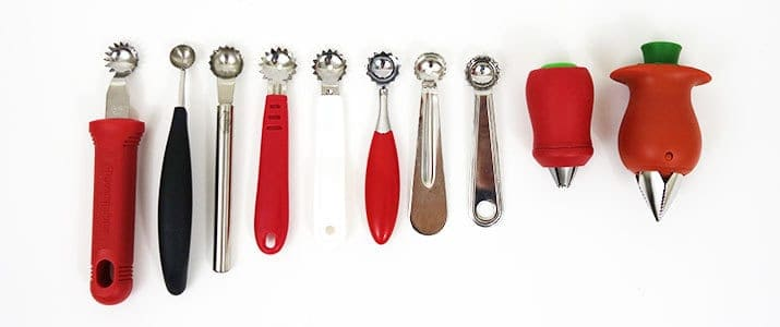 Different brands of tomato corers compared