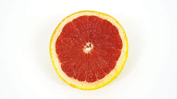 Red Grapefruit cut in half
