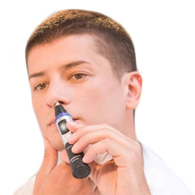 Man cutting nose hairs with Panasonic ER-Gn30-K Nose Hair Trimmer