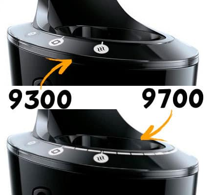 Philips Norelco 9700 and 9300 electric shaver side by side comparison of SmartClean Charging Dock Display