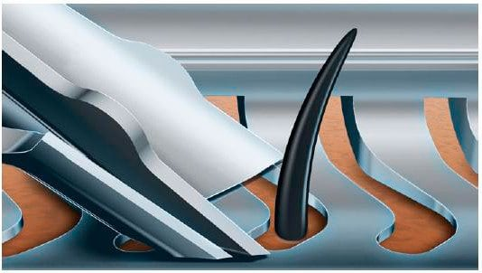 Philips Norelco S9311/84 9300 electric shaver (9000 series) shaving head blade cutting hair diagram