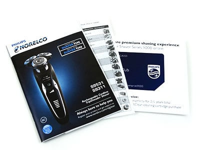 Philips Norelco S9311/84 9300 electric shaver (9000 series) Instruction manual and grooming club membership