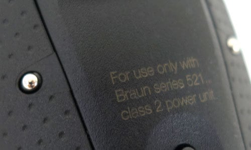 Braun Series 9 electric Shaver charging contacts on rear of handle