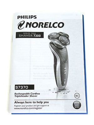 Philips Norelco 7300 electric shaver (7000 series) instruction manual