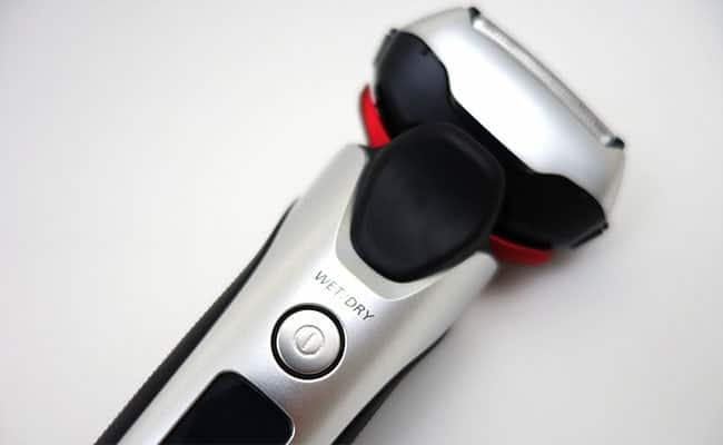 Panasonic Arc 3 Electric shaver close up on power button