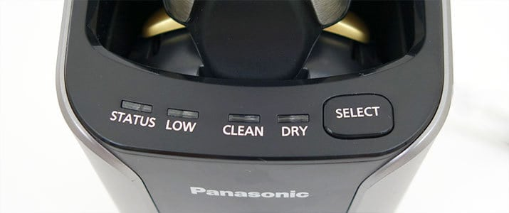 Panasonic Arc 5 ES-LV9N electric shaver cleaning station controls