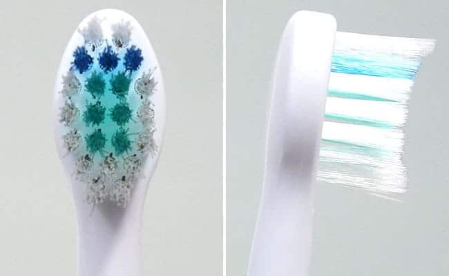 Philips Sonicare e-Series Compact replacement toothbrush head front and side photo of bristles