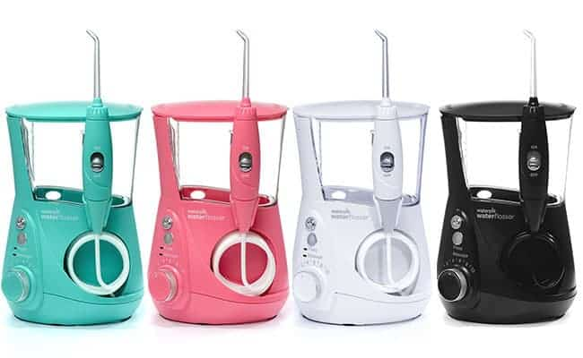 Different colors of the Waterpik Aquarius professional designer Series
