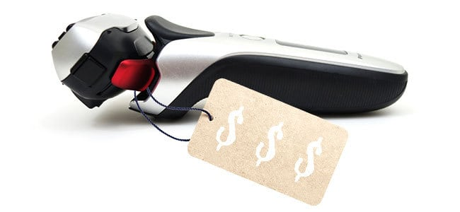 Expensive electric shaver with price tag