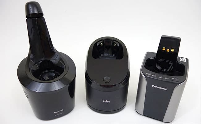 Philips Norelco, Braun and Panasonic cleaning stations comapred side by side