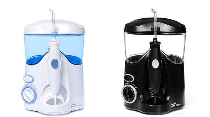 Waterpik Ultra water flosser in black (WP-112) and white (WP-100) compared side by side