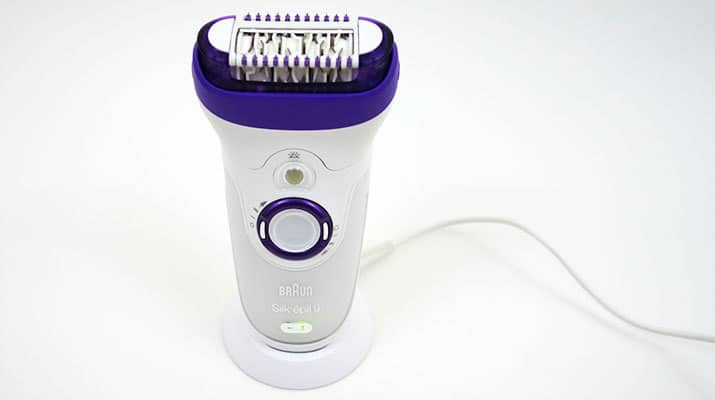 Braun SIlk Epil 9 epilator sitting on charging stand