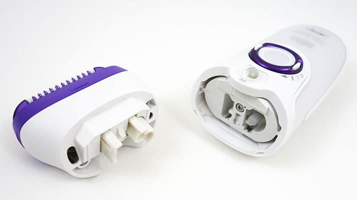 Braun Silk Epil 9 Epilator with epilation head removed from handle