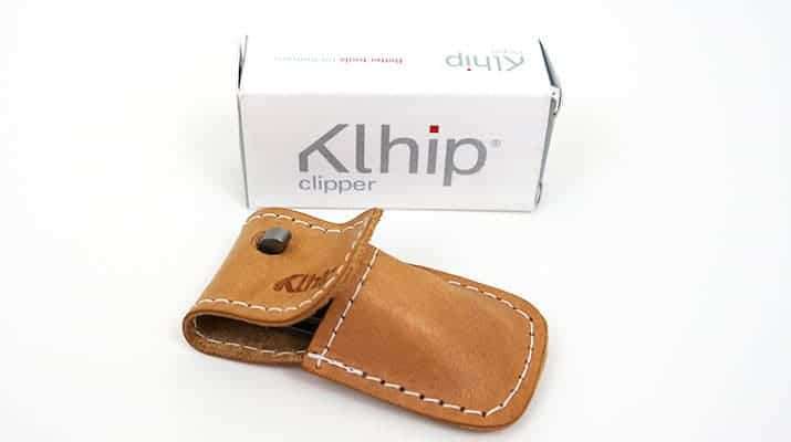 Khlip Ultimate Nail Clipper in leather pouch