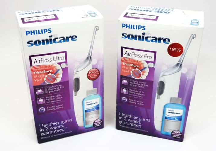 Philips Norelco Airfloss Ultra vs Airfloss Pro boxes