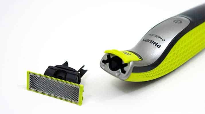 Philips Norelco OneBlade with trimmer head removed from handle