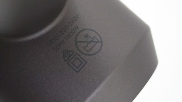 Dyson Supersonic Hair Dryer voltage and warning symbol