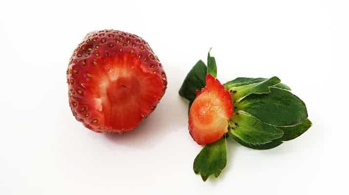 Strawberry with hull and stem removed