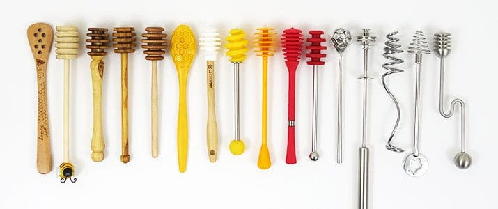 Different types of honey dippers compared side by side