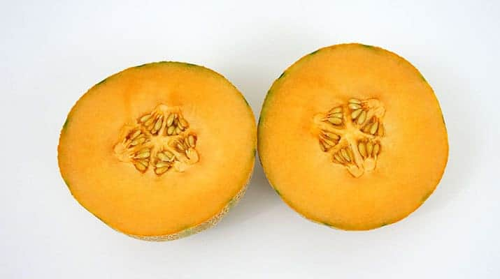 Cantaloupe melon cut in half